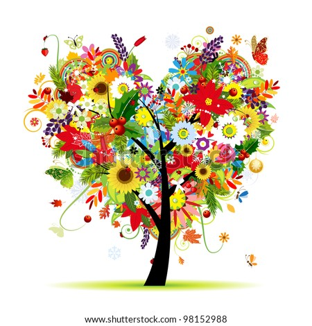 Four seasons. Art tree heart shape for your design