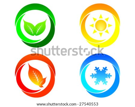 four seasons background - stock vector