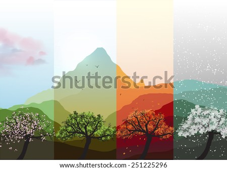 Four Seasons Banners Spring, Summer, Fall, Winter with Abstract Trees and Mountains  - Vector Illustration - stock vector