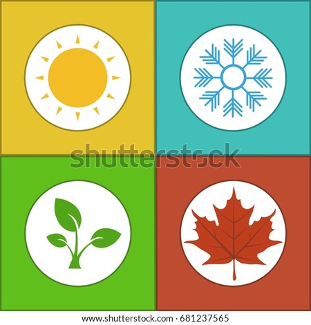 Four Seasons Colorful Icon Set Template Stock Photo Photo Vector