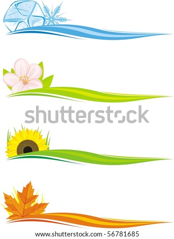 Four seasons design elements - stock vector