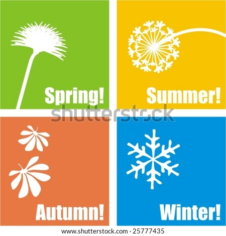Four seasons design - vector, see my portfolio for another set - stock vector