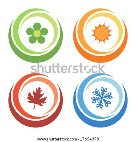 four seasons elements - stock vector