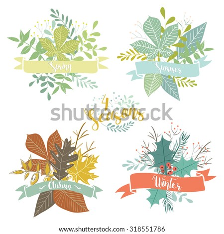 Four Seasons Leaves Bouquets - stock vector
