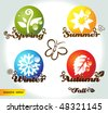 Four seasons names with elements - stock vector