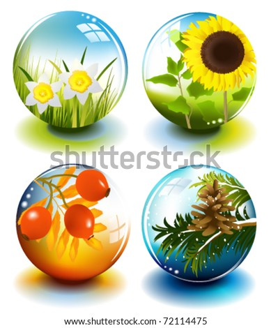 Four seasons spheres - stock vector