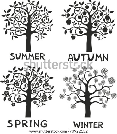Four seasons - spring, summer, autumn, winter. - stock vector