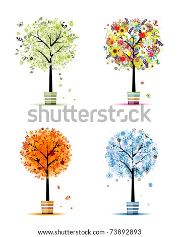 Four seasons - spring, summer, autumn, winter. Art trees in pots for your design - stock vector