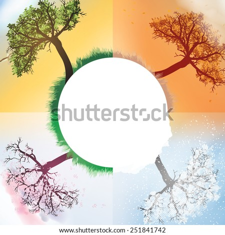 Four Seasons Spring, Summer, Autumn, Winter Banners with Abstract Trees - Vector Illustration - stock vector