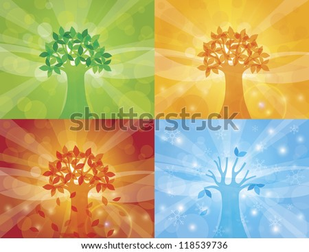 Four Seasons Spring Summer Fall Winter Trees with Sun Rays Background Illustration Vector - stock vector