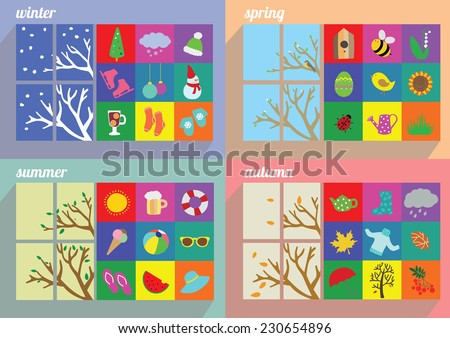 Four seasons symbol vector illustration - stock vector