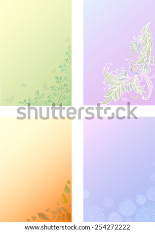 Four seasons. The Weather. Winter. Spring. Summer. Autumn. Natural background.Set of corners. - stock vector
