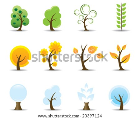 Four Seasons Tree Icons - stock vector