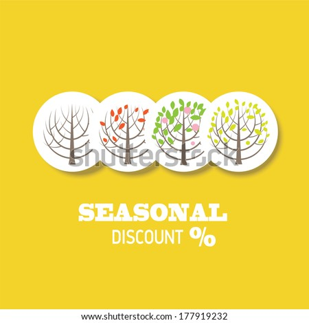 Four seasons tree icons vector illustration. Seasonal sales, information template - stock vector