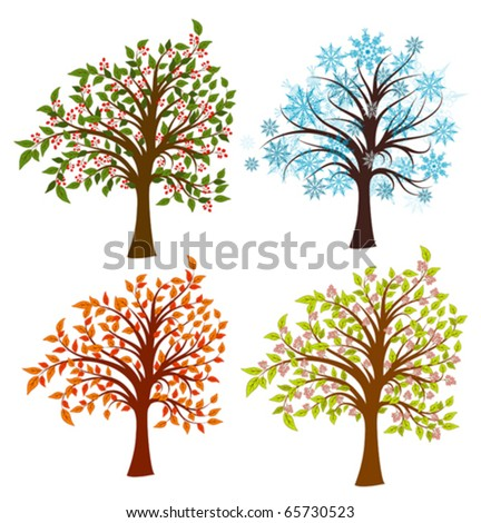 Four seasons trees, vector illustration