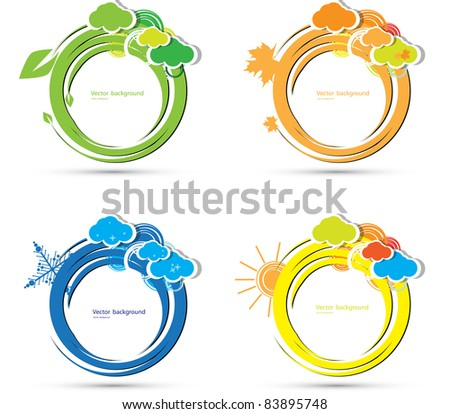 Four seasons vector elements - stock vector