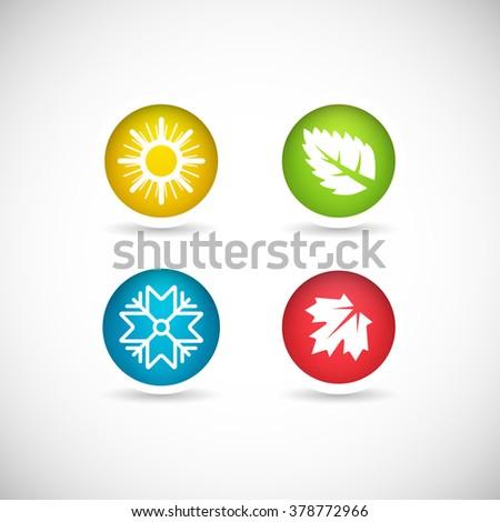 Four seasons vector icon set. - stock vector