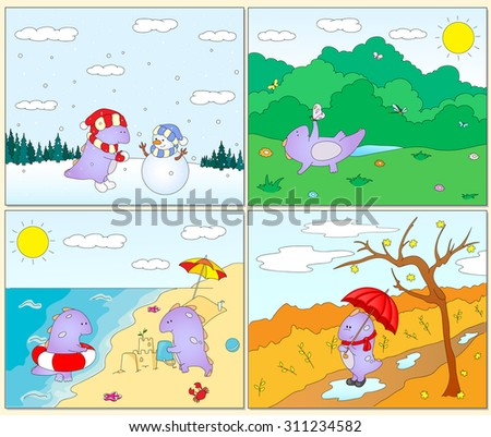 Four seasons: winter, spring, summer and autumn with purple dragon for kids. Seasonal postcards. Vector illustration - stock vector
