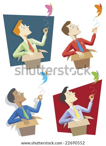 "Four separate graphics illustrating the metaphor ""thinking outside the box"". Vector version is scalable to any size. Elements on separate layers for easy editing. - stock vector"