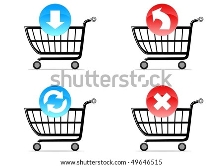 four shoping cart symbols with icons - stock vector