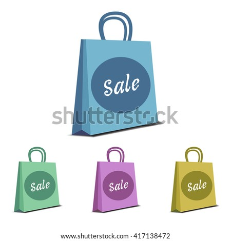 Four shopping bags isolated on a white background - stock vector