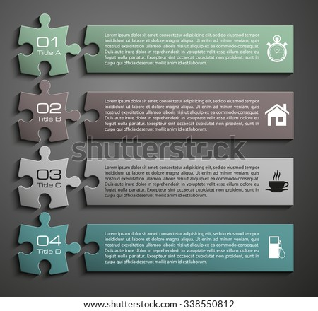 Four sided 3d puzzle presentation infographic template with explanatory text field for business statistics - stock vector