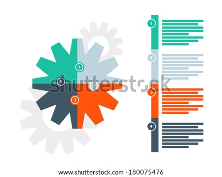 Four sided round puzzle gear presentation infographic diagram template with numbered explanatory text field on white background - stock vector