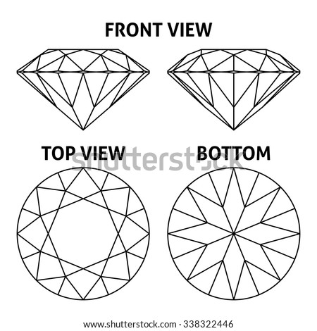 Four sides of the diamond, vector illustration - stock vector