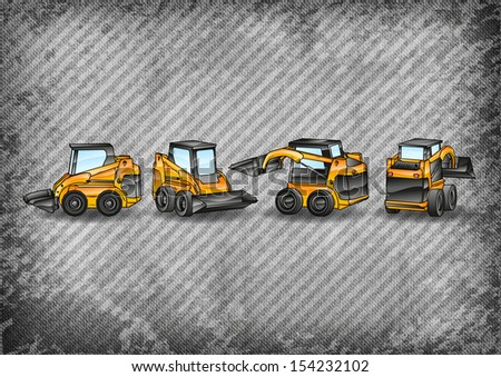 four small excavators on the grey texture