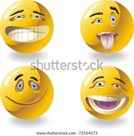 four smiley faces expressing different emotions