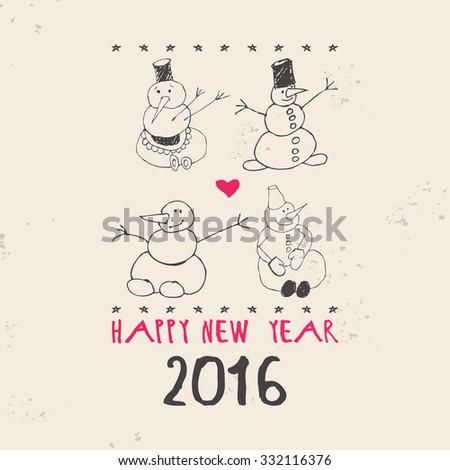 Four snowman. Vintage Christmas card. 10 eps - stock vector