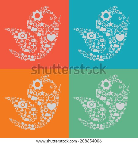 Four Social Media Birds - stock vector