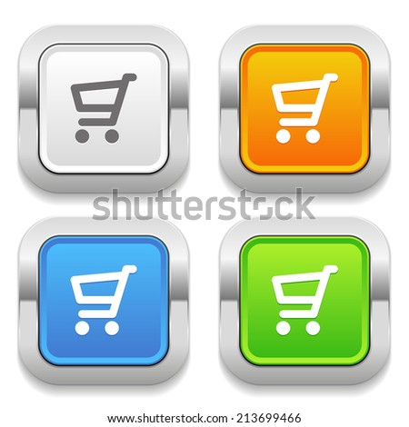 Four square button with different colors and shop icon
