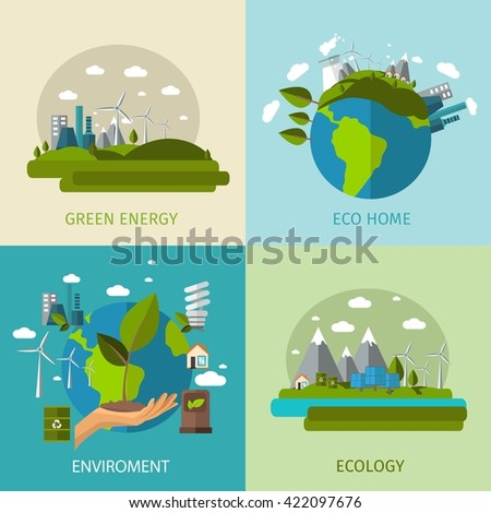Four square colored ecology flat icon set with descriptions of green energy eco home environment and ecology vector illustration - stock vector