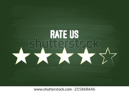 Four Star Feedback Rate Us On Green Blackboard - stock vector