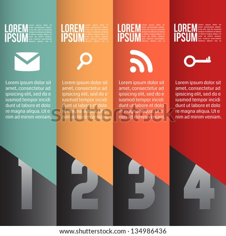 Four steps for infographics options. Vertical lines - stock vector