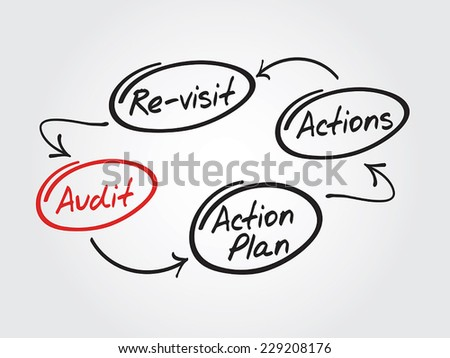 Four steps of the audit process in order to audit a company - stock vector