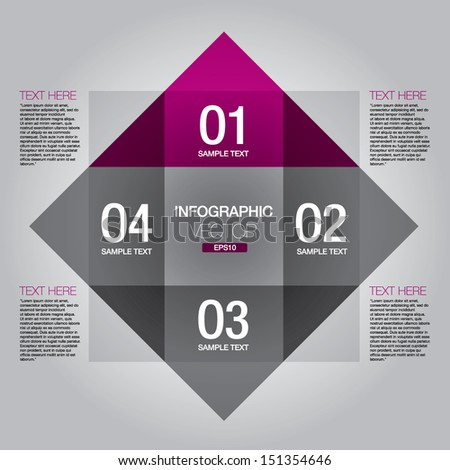 Four steps template for presentations.