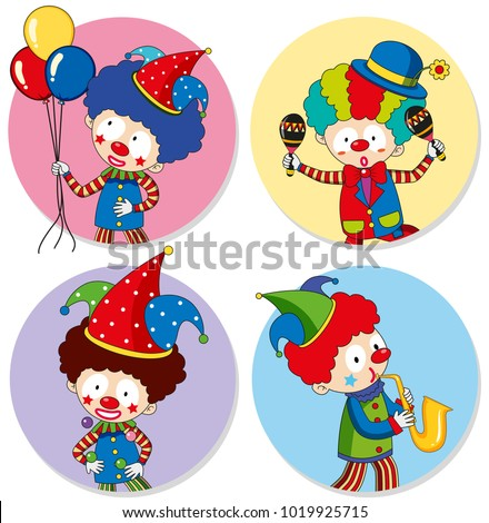 four sticker template clowns balloons illustration stock vector