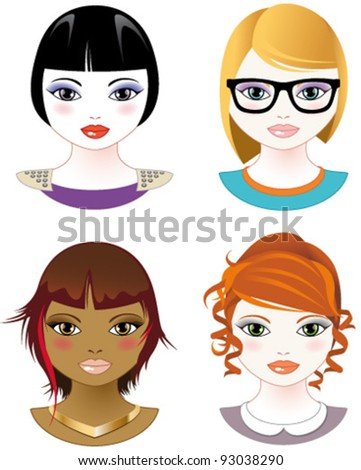Four stylized female faces - stock vector