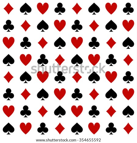 four suits of cards pattern on a white background