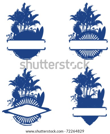 four surf shield with palms and table - stock vector