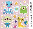Four sweet cute child alien monsters with planets and happy stars - stock vector