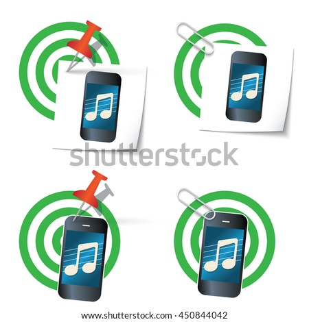 Four targets and smart phone with music icon