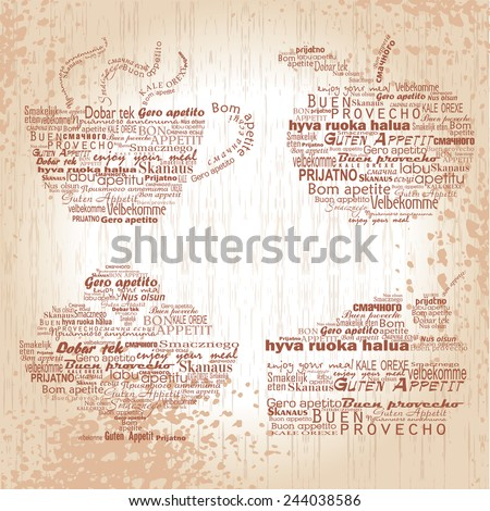 "Four text figures ""Enjoy your meal"" on different languages - stock vector"