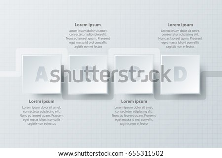 simple white d number dial square stock vector  four topics simple white paper 3d square on timeline for website presentation cover poster vector design