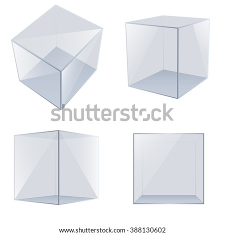 Four transparent glass cubes. Vector Illustration - stock vector