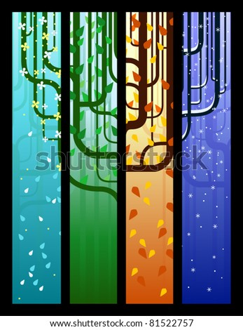 Four tree banners, one for each season - stock vector