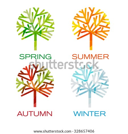Four trees as seasons. Spring, summer,autumn and winter - stock vector