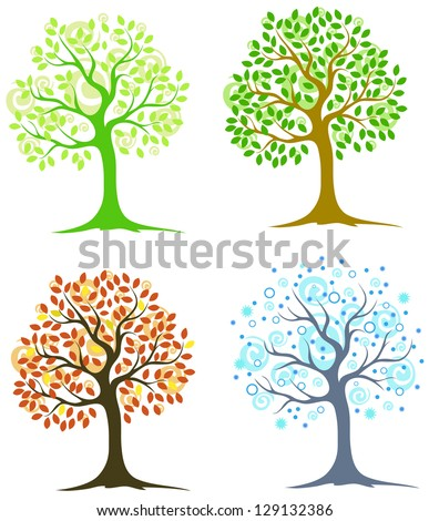 four trees in different seasons on a white background